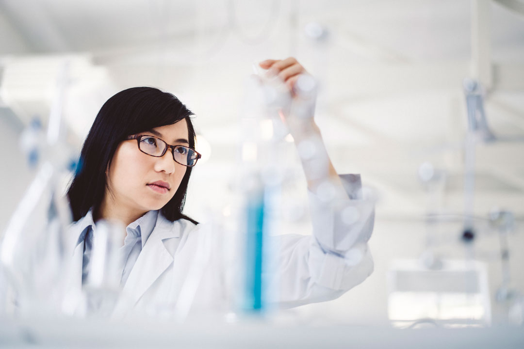 Scientist in lab testing product